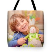 Happy Boy With Easter Bunny Tote Bag