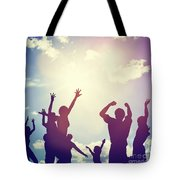 Happy Friends Family Jumping Together Having Fun Tote Bag