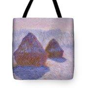 Haystacks, Snow And Sun Effect Tote Bag