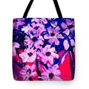 Sunset With Flowers Tote Bag