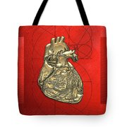 Heart Of Gold - Golden Human Heart On Red Canvas Tote Bag by Serge Averbukh