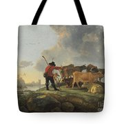 Herdsmen Tending Cattle Tote Bag