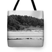 Hilton Head Island Shoreline In Black And White Tote Bag