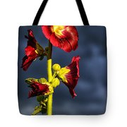 Hollyhock And Storm Clouds Tote Bag