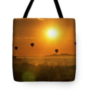 Holy Temple And Hot Air Balloons At Sunrise Tote Bag by Pradeep Raja PRINTS