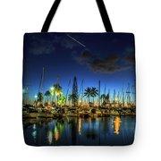 Honolulu Harbor By Night Tote Bag