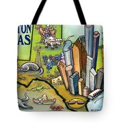 Houston Texas Cartoon Map Tote Bag
