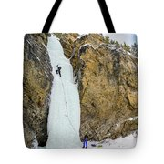 Ice Climbers On A Route Called Professor Falls Rated Wi4 In Banf Tote Bag