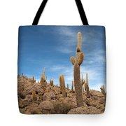 Incahuasi Island View With Giant Cacti Tote Bag