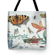 Insects And Garden Pansy Tote Bag