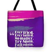 Inspirational Timeless Quotes - Samuel Beckett Tote Bag