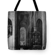 Interior Of A Gothic Church At Night Tote Bag