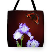 Iris And Butterfly Tote Bag