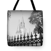 Jackson Square Fence With St. Louis Cathedral In Background Tote Bag