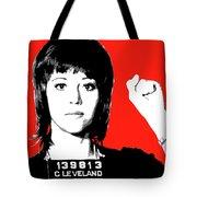 Jane Fonda Mug Shot - Red Tote Bag