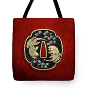 Japanese Katana Tsuba - Twin Gold Fish On Black Steel Over Red Velvet Tote Bag