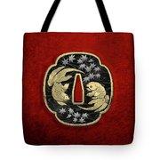Japanese Katana Tsuba - Twin Gold Fish On Black Steel Over Red Velvet Tote Bag