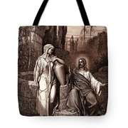 Jesus And The Woman Of Samaria Tote Bag
