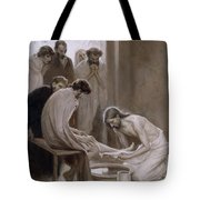 Jesus Washing The Feet Of His Disciples Tote Bag