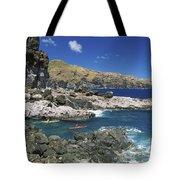 Kayaking Along Coastline Tote Bag