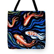 Koi Fish In Ribbons Of Water Tote Bag