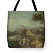 Landscape With A Group Of Figures Fishing Tote Bag