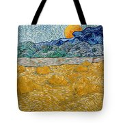 Landscape With Wheat Sheaves And Rising Moon Tote Bag
