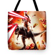 Laser Eyes Space Cat Riding Dog And Dinosaur Tote Bag