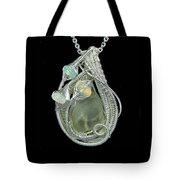 Libyan Desert Glass Meteorite Impactite Wire-wrapped Pendant In Sterling Silver With Ethiopian Opals Tote Bag