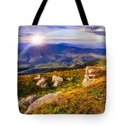 Light On Stone Mountain Slope With Forest Tote Bag