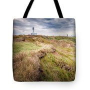 Lighthouse And Cliffs Tote Bag