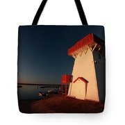 Lighthouse And Marina At Hecla In Manitoba Tote Bag