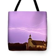 Lightning Bolts Over Spring Valley Country Church Tote Bag