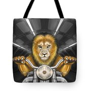 Lion On Motorcycle Tote Bag
