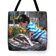 Little Boy And Flowers Tote Bag