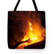 Log Campfire Burning At Night Tote Bag