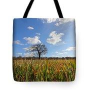 Lone Oak Tree In Wheat Field Tote Bag