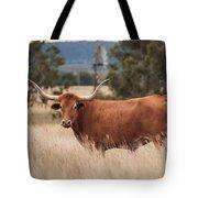Longhorn Cow In The Paddock Tote Bag