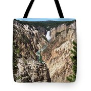 Lower Falls From Artist Point In Yellowstone National Park Tote Bag