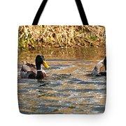 Mallards On Pond Tote Bag