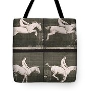 Man And Horse Jumping A Fence Tote Bag