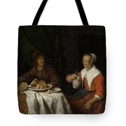 Man And Woman At A Meal Tote Bag