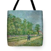 Man With Spade In A Suburb O Tote Bag