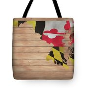 Maryland Rustic Map On Wood Tote Bag