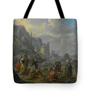 Mediterranean Port With An Elegant Couple Tote Bag