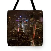 Midtown Manhattan Skyline Aerial At Night Tote Bag