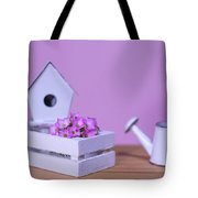 Miniature Gardening Kit With Pink Background Tote Bag
