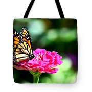 Monarch Butterfly On Pink Flower Tote Bag