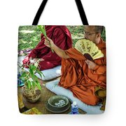 Monks Blessing Buddhist Wedding Ceremony In Cambodia Tote Bag