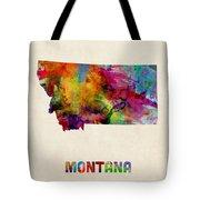 Montana Watercolor Map Tote Bag